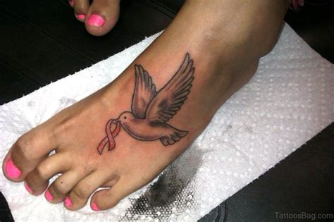 Dove With Ribbon Tattoos 42 Attractive Cancer Ribbon Tattoos On Foot