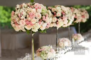 Garden Wedding Flower Arrangements Garden Wedding Flowers Pink Ivory Topiaries Onewed