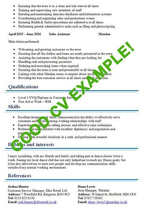 Templates For Writing A Good Cv | excellent cv exle page 2