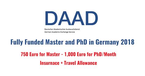 Daad Scholarship For Mba In Germany by Daad Master And Doctoral Programs In Germany 2018 Fully