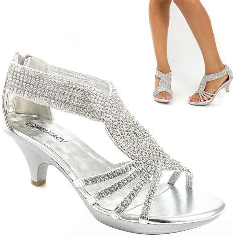 Bridal Low Heels by Silver Bridal Open Toe Rhinestone Low Heel