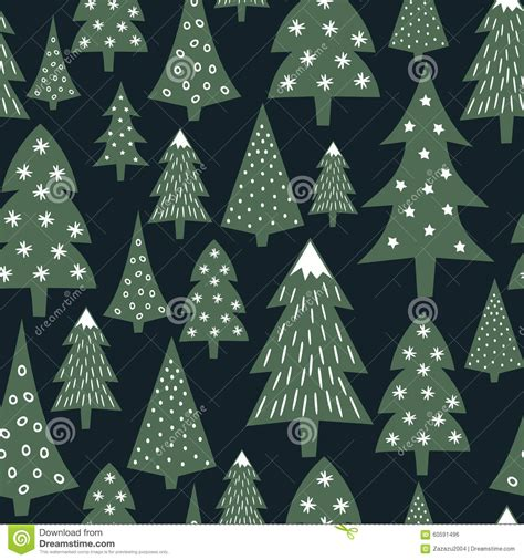 christmas tree new year pattern christmas pattern varied xmas trees and snowflakes