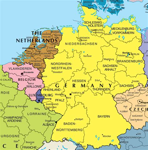 map netherlands belgium germany political map of germany size