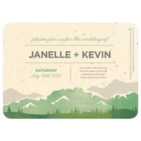 Wedding Invitation Paper Canada by Mountain Seed Paper Wedding Invitation Plantable Wedding