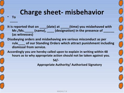 Termination Letter Format Misbehaviour Session 9