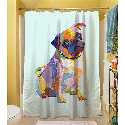 pug shower curtain thumbprintz pug sketch shower curtain 71 quot x 74 quot walmart com
