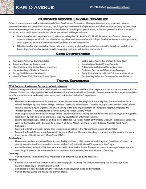 Tourism Manager Sle Resume by Customer Service Travel Tour Guide Resume For Kari Q Avenue