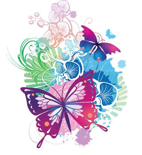 imagenes de mariposas multicolores brillante fondo ilustrador 01 vector de material