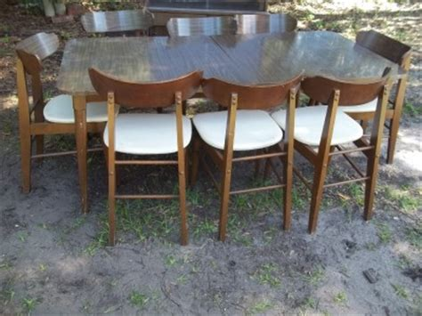 1950s wood dining table and chairs vintage 1950 s walter of wabash brown wood dining table