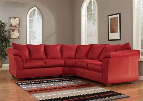 ashley red couch red sectional sofa smalltowndjs com