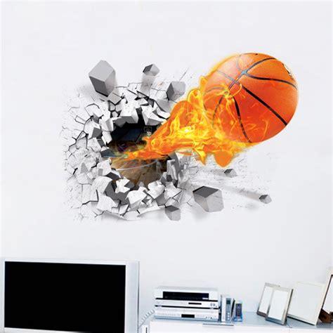 new set 6 pcs wall sticker 3d art magic picture vinyl removable home decor decal ebay new arrival 3d lifelike basketball wall stickers nba
