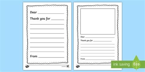 Thank You Letter Writing Template Thank You Letter Writing Letter To Template Eyfs
