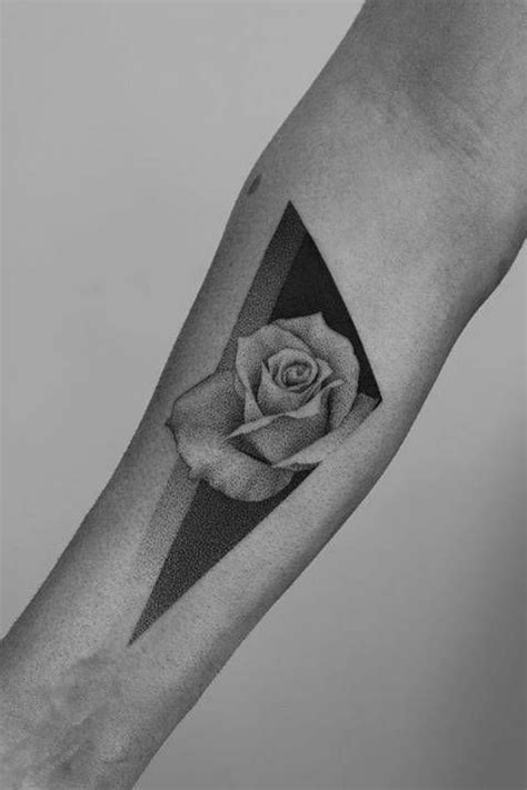 dotwork rose on the inner forearm tattoo artist paweł