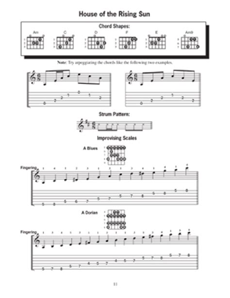 strumming pattern house of the rising sun modern guitar method grade 1 learn rock favorites book