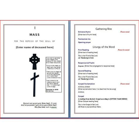 layout of mass booklet catholic funeral mass program template