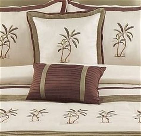 Montego Bay Comforter Set by 8 Pc Comforter Set Embroidered Palm Trees Green Beige