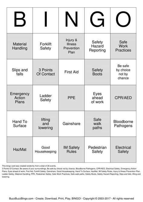 Safety Bingo Cards to Download, Print and Customize!