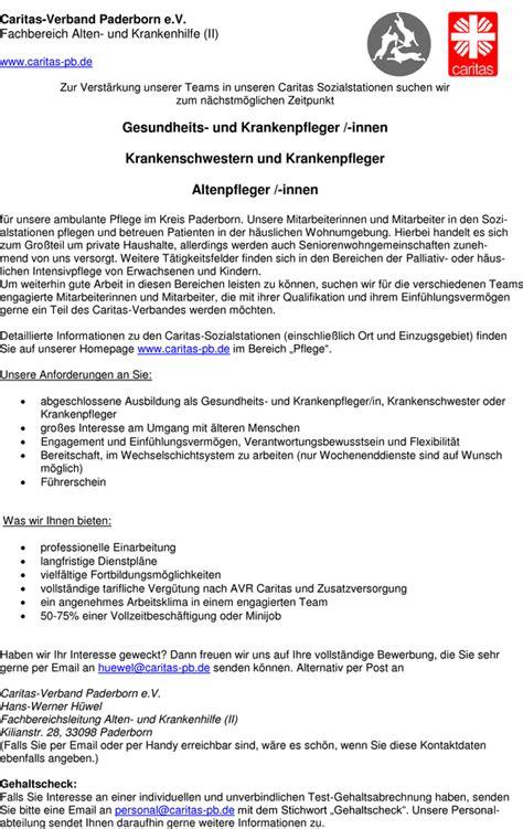 Bewerbungsschreiben Ausbildung Gesundheits Und Krankenpfleger Stellenangebot Gesundheits Und Krankenpfleger Innen Altenpfleger Innen In Paderborn