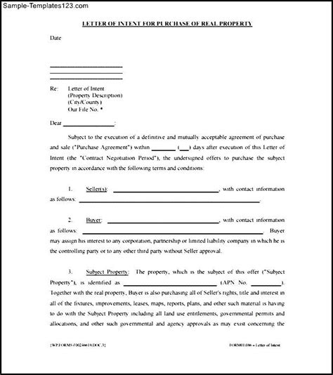 Letter Of Intent Template For Real Estate Purchase Letter Of Intent To Purchase Real Estate Pdf Sle Templates