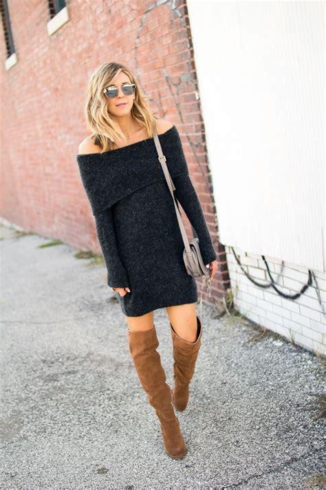 Leena Flatshoes the shoulder sweater dress fall style otk boots