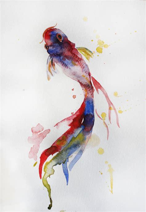 koi fish watercolor paintings original watercolor painting koi fish gold fish by