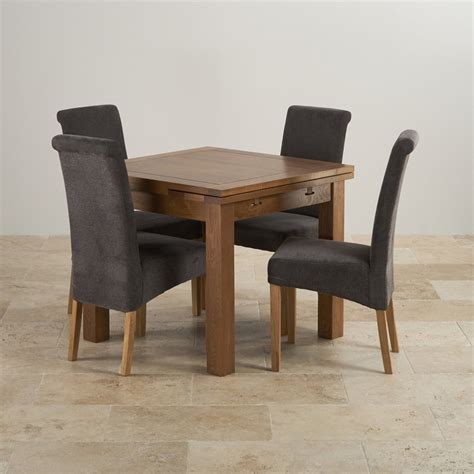 Rustic Oak Dining Chairs Rustic Oak Dining Set 3ft Extending Table 4 Scroll Back Chairs