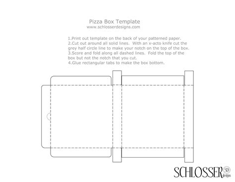 5 best images of pizza box design template printable