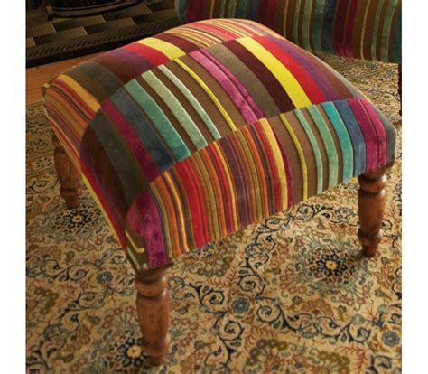 Velvet Patchwork - multi stripe velvet patchwork footstool