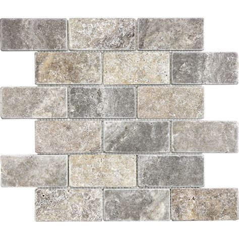 travertine mosaic backsplash anatolia tile silver crescent subway mosaic travertine wall tile common 12 in x 12 in actual