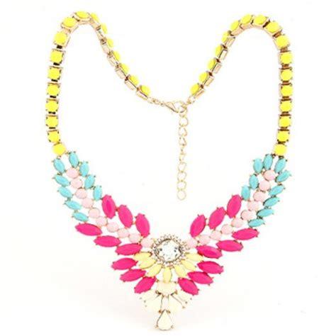 Kalung Fashion Gemstone Weave Decorated V Shape Design diy multicolor multilayer gemstone v shape pendant design asujewelry