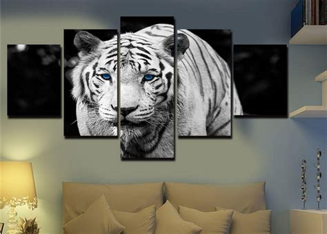 white tiger home decor unframed 5 pcs high quality cheap white tiger art pictures