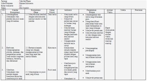 Ktsp Buku Kerja Tematik Bahasa Indonesia Sd Kelas 1 Hilda Erlangga contoh silabus bina bahasa indonesia kelas 2 sd bank soal ujian