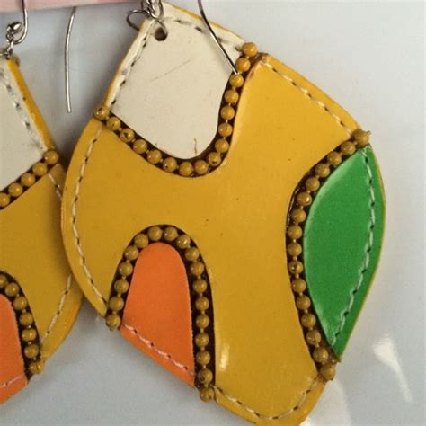 Faux Leather Earring big yellow faux leather earrings os from stylediva s