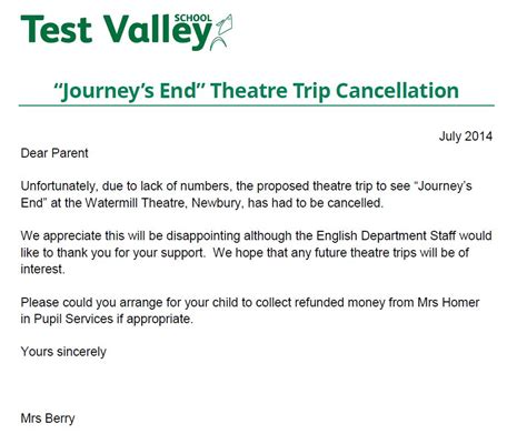 cancellation letter to school test valley school journey s end theatre trip cancellation