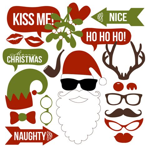 printable christmas themed photo booth props christmas photo booth props collection printable instant