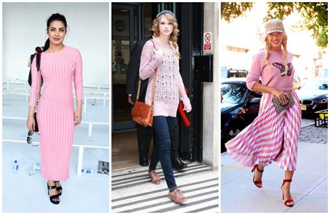 celebrity pink dress pants outfit with pink sweater 18 ways to wear pink sweaters