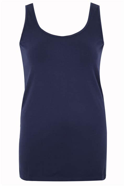 Top Navy navy longline vest top plus size 16 18 20 22 24 26 28 30 32