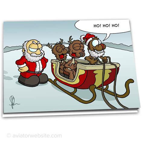 funny christmas card reindeer mocking santa  cards aviatorwebsite