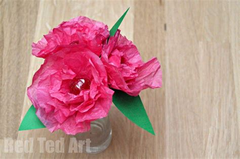 Paper Flower Crafts - tissue paper flower lollipops ted s