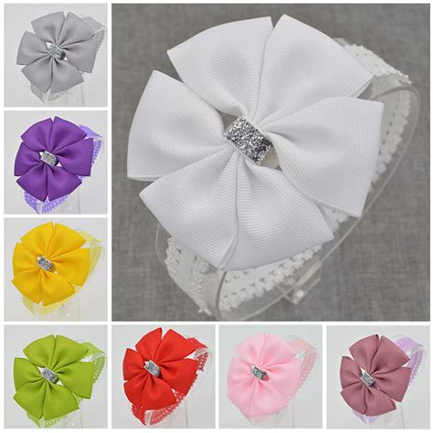 Ribbon Baby Headband 22 color new baby hair bow flower headband bowknot ribbon newborn toddler hair band handmade diy