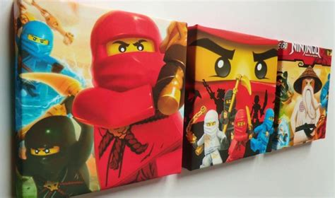 ninjago bedroom 3 x deep edge box canvas pictures made with lego ninjago