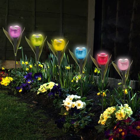 solar flower lights garden tulip flower shape led solar powered lights outdoor