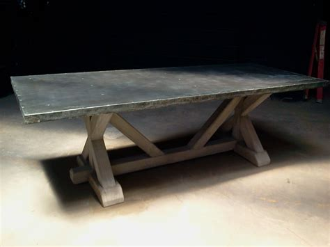 Zinc Top Bar Table Zinc Topped Dining Table With Zinc Farm Trestle Table Wood Base Design Popular Home