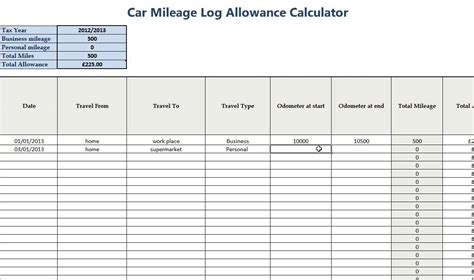 28 business mileage spreadsheet free mileage tracking