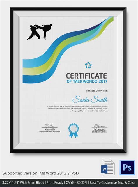 teakwondo certificate 5 word psd format