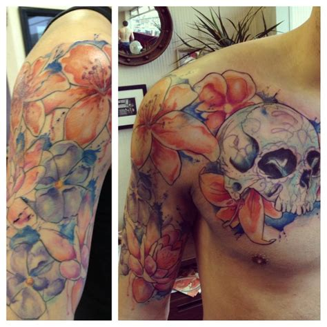watercolor tattoo uk watercolor sugar skull with flowers half sleeve by chelsea