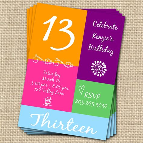 13 birthday invitation templates 7 best images of free printable 13th birthday invitations