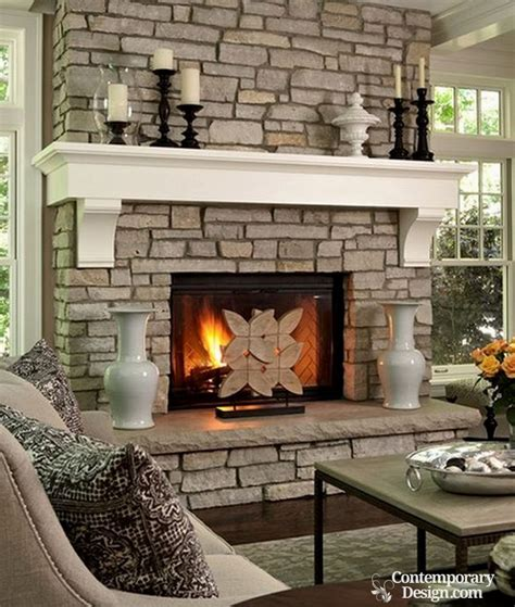 white and grey brick fireplaces