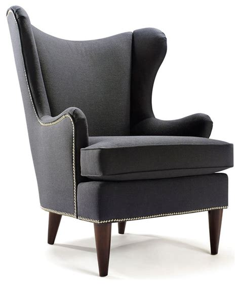 contemporary wingback chair elana wingback chair smoke contemporary armchairs