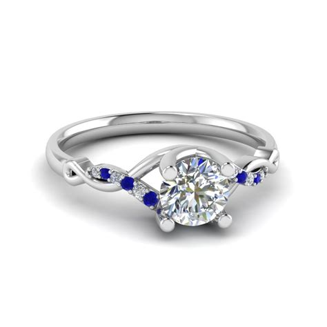 Wedding Rings With Sapphires And Diamonds by U Prong Twisted Engagement Ring In 14k White